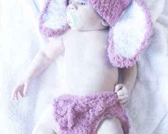 12 to 24m Baby Bunny Hat Pom Pom Diaper Cover Set, Toddler Bunny Ears Costume, Girl Baby Hat, Rose White Toddler Photo Prop, Baby Gift