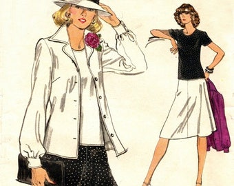 Vogue 9137 Charming Coordinates - Jacket, Top & Skirt / ca. 1970's SZ10 UNCUT