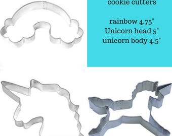 UNICORN Cookie Cutter, Unicorn horse cookie cutter, Rainbow cookie cutter, Set of 3 or buy what you need, Great for Magical Princess Parties