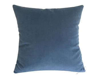 Ocean Blue Velvet Suede Decorative Throw Pillow Cover / Pillow Case / Cushion Cover / 20x20""