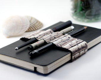 Journal Bandolier // birches // (a better pencil case, journal pen holder, book strap, pen loop, pencil roll, pen bandolier)