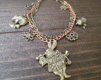 Alice in Wonderland White Rabbit Triple Chain Charm Bracelet