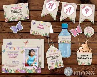Butterfly Party Package Girl's Pink Invitation Birthday Invite INSTANT DOWNLOAD Banner Garden Decoration Printable Editable Personalize