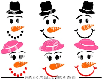 Snowman and Snow Woman Faces svg / dxf / eps / png files. The files work well with Silhouette and Cricut. Digital Download.