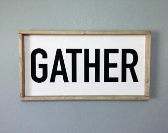 Wooden Gather Sign - Framed Sign, Family Room Sign, Farmhouse Sign, Farmhouse Decor, Wood Sign, Housewarming Gift