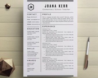 Amazing Teacher Resume Template Professional Resume Templates CV Template Cover  Letter For MS Word Instant Digital Download