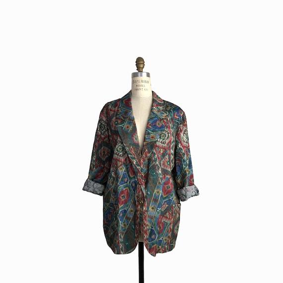 Vintage 90s Oversized Southwestern Print Jacket / Damask Tribal Print Blazer Jacket / Boho Festival Jacket - women's medium