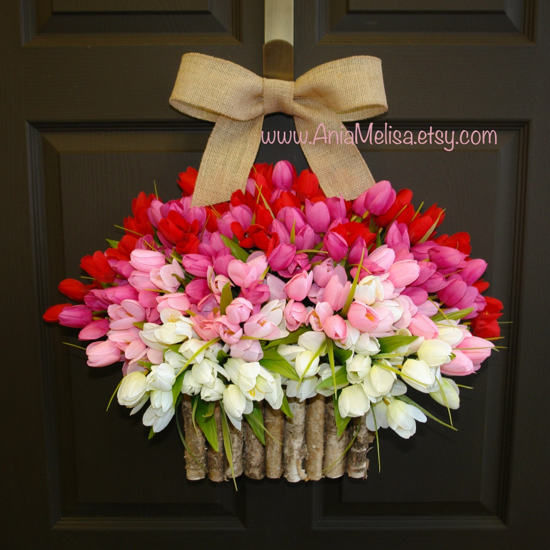 Spring wreath summer wreath easter front door wreaths zoom rubansaba