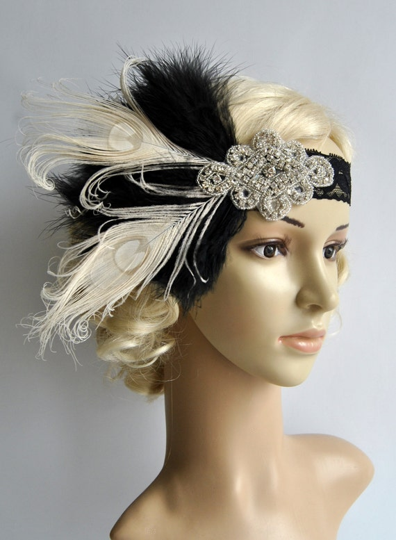 Flapper Lace Rhinestone Feather Headband 1920'sFeather