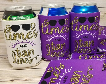 good times and tan lines bachelorette party favors / bachelorette party can coolers / bride favors no minimum custom