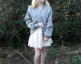 Comfy Gray Vintage Wool Cardigan