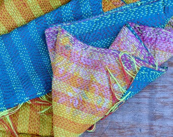 Teal & yellow silk Kantha shawl throw two sided bohemian patterned natural handmade hand stitched vintage ethnic mid season
