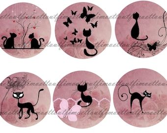 30Image digital cabochon cat on pink lined