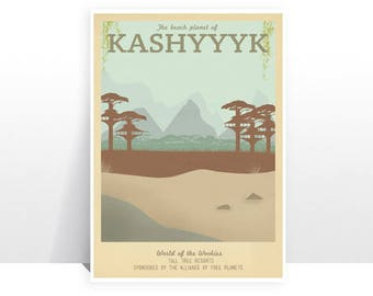 Retro Travel Poster - Star Wars - Kashyyyk - MANY SIZES - Modern Vintage Sci Fi Geek Yoda r2D2 C3Po Obi Wan Jedi Typography Art Print