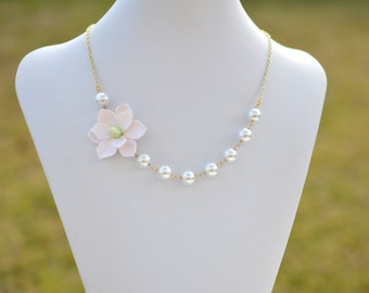 FREE EARRINGS, White  Southern Magnolia necklace, Flower necklace, Asymmetrical Necklace, White Flower Jewelry, Bridesmaid Necklace