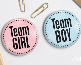 """2.25"""" Pink Team Girl - Blue Team Boy - Baby Shower Pin back Buttons - Gender Reveal Party"""