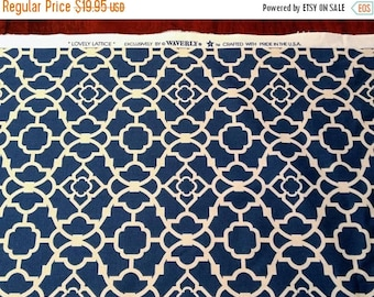 JUNE SALE 30% Off, Waverly Lovely Lattice Blue Fabric 2 Yards..DIY, Chic Shabby, Lattice Geometric Design...Designer Fabric