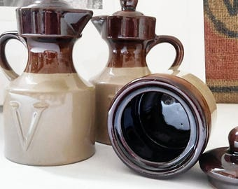 Vintage stoneware vinaigrette service. France 1970