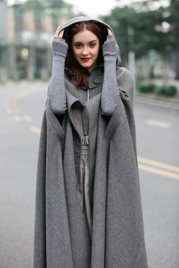 Maxi Wool Poncho Cape In Grey Black Red Blue Long Hooded