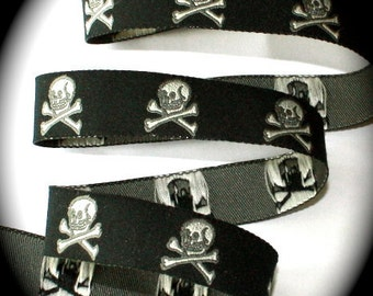 "Skull Ribbon -  5/8"""" x 3 yards  Black and Gray Skull7321 Woven jacquard Ribbon"