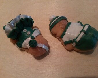 Babies polymer clay, 5.5 cm, asleep, sold by two twins