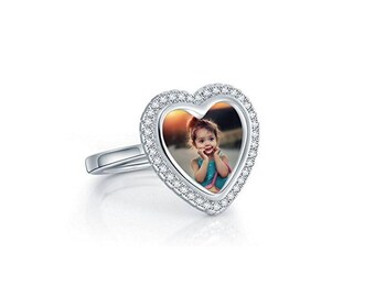 925 Sterling Silver Personalized Photo Heart Open Ring Custom Made with Any Picture