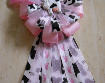 Pink Cow Baby Shower Corsage
