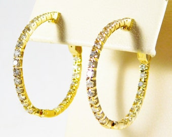 14k Gold and Diamond Hoop Earrings