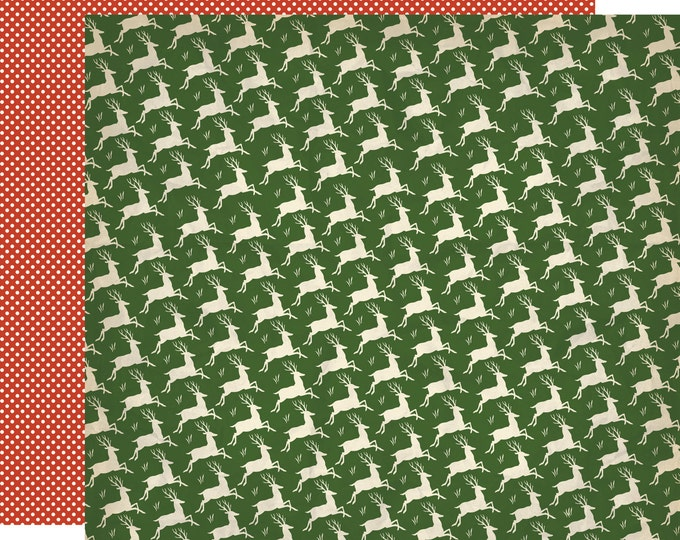 2 Sheets of Carta Bella Paper CHRISTMAS WONDERLAND 12x12 Scrapbook Paper - Now Dash Away (Reindeer)