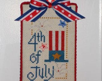 Finished Cross Stitch '4th of July""