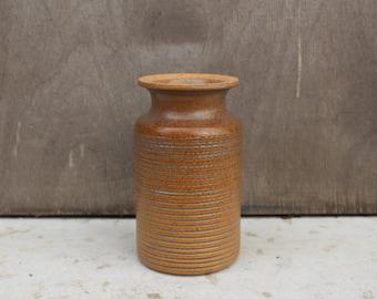 Scandinavian Stoneware Ahla Pottery Vase, Brown Color Small Vase, Ahla Pottery, Ahla Krukmakeri, Stig Bõrje Jacobsson