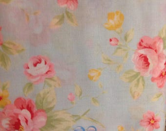 Antique Flower Collection in Pastel, by Lecien, Blue Fabric with Pink and Yellow Flowers and Blue Berries, Shabby Chic, Fabric by the Yard,