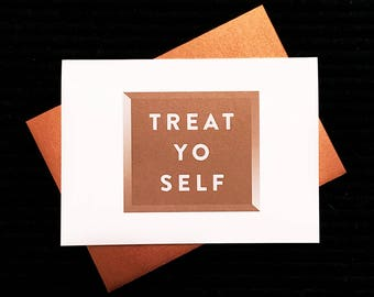 Treat Yo Self Card Funny Gift Card Holder (Parks and Rec, Recreation, Tom Haverford, Love, Birthday, Christmas, Wedding, Ron Swanson)