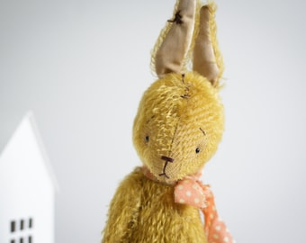 Made to order Gold Mohair Rabbit 8 Inches Handmade Toy Stuffed Animal Easter Bunny Plush Bunny Soft Toys Personalized Gift For Her