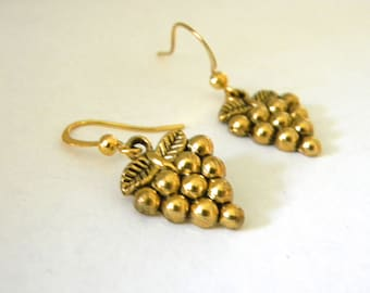 Grape Earrings Gold Color Grape Cluster Earrings Dangle Earrings