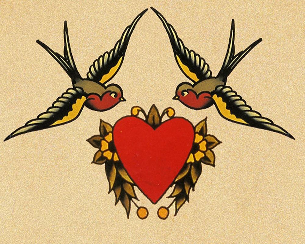 Heart Rose Swallow Sailor Jerry Tattoo Enamel Metal TIN SIGN