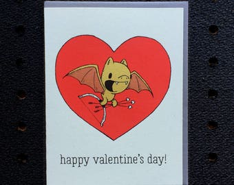 bat valentine card, cute valentine, bat card, screen printed valentine, bat valentine