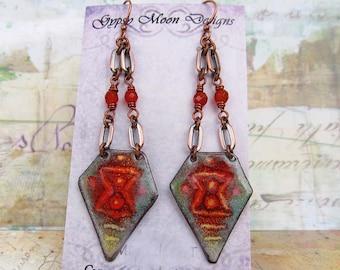 Boho earrings Tribal jewelry Ethnic Bohemian earrings Orange African earrings Bohemian jewelry