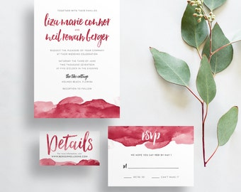 Watercolor Ombre Wedding Invites / Cranberry Red / Brush Lettering / Semi-Custom Wedding Invitation Suite / Print-at-Home Invitations