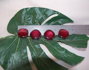 4 buttons 3 cm red/Burgundy