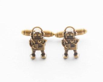 Robot Robot de boutons de manchette en cadeaux pour les boutons de manchette homme boutons de manchette Scifi Robot Set cadeaux geek accessoires Robot Vintage bijoux geek hommes