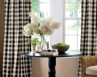 lovemyfabric Gingham/Checkered 100% Polyester Curtain Window Treatment/Decor Panel