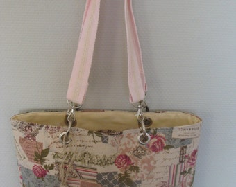 eyelet linen tote bag bottom ecru print shabby romantic