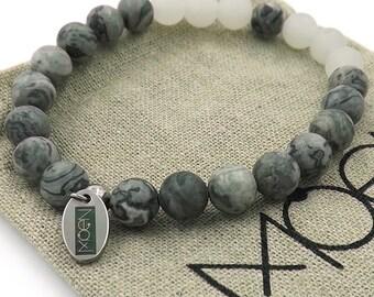 MOEN Neutrala/Netstone and white Jade bracelet