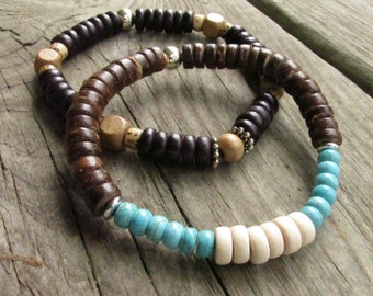 Men's Wood Stretch Bracelet, Choose One or Both - Unisex Beaded Wood, Nut and Turquoise Magnesite Bracelets - Large Sizes
