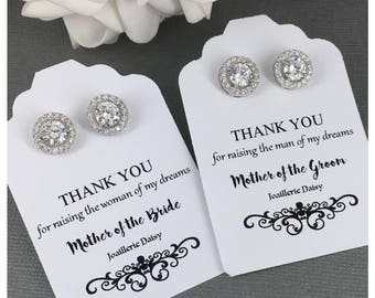 Gift for Moms Stud Earrings Gift for Mother in Law Gift Crystal Earrings Mother of Bride Gift Mother of Groom Gift Wedding Earrings