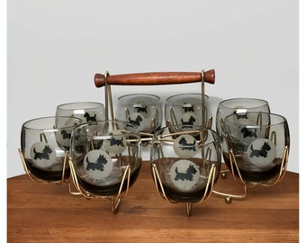 60s Scotty Dog Roly-Poly Glasses & Caddy - Federal Glass