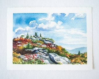 Dolly Sods Bear Rocks Watercolor Print - WV Landscape Print - Landscape Watercolor Illustration