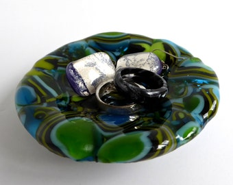 Fused Glass Ring Dish in Blue and Green by BPRDesigns