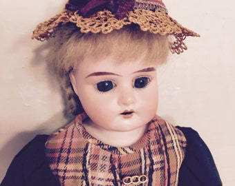 Antique German Bisque Ruth Doll with Leather Body